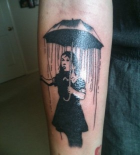 Bansky girl tattoo