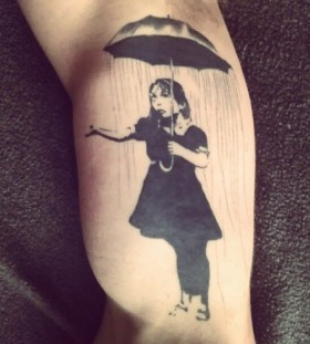 Bansky- girl with umbrella tattoo