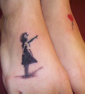 Bansky tattoo on foot
