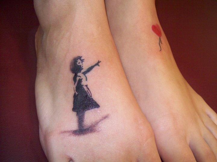 Bansky tattoo on foot