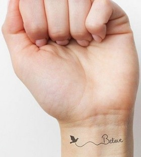 Believe and lovely bird tattoo