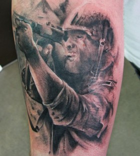 Black adorable soldier tattoo on arm