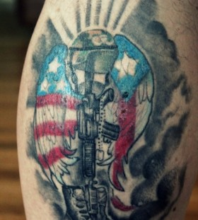 Black american style soldier tattoo on arm