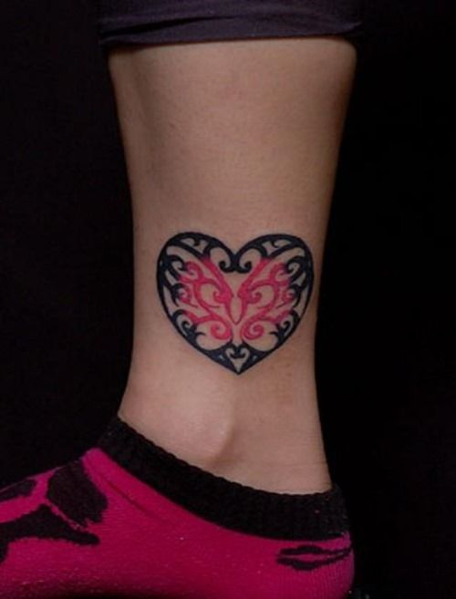 Black and pink heart tattoo