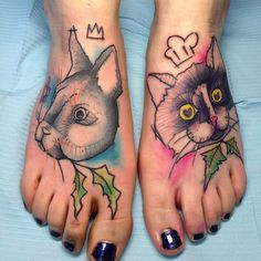 Black and pink rabbit tattoo on body