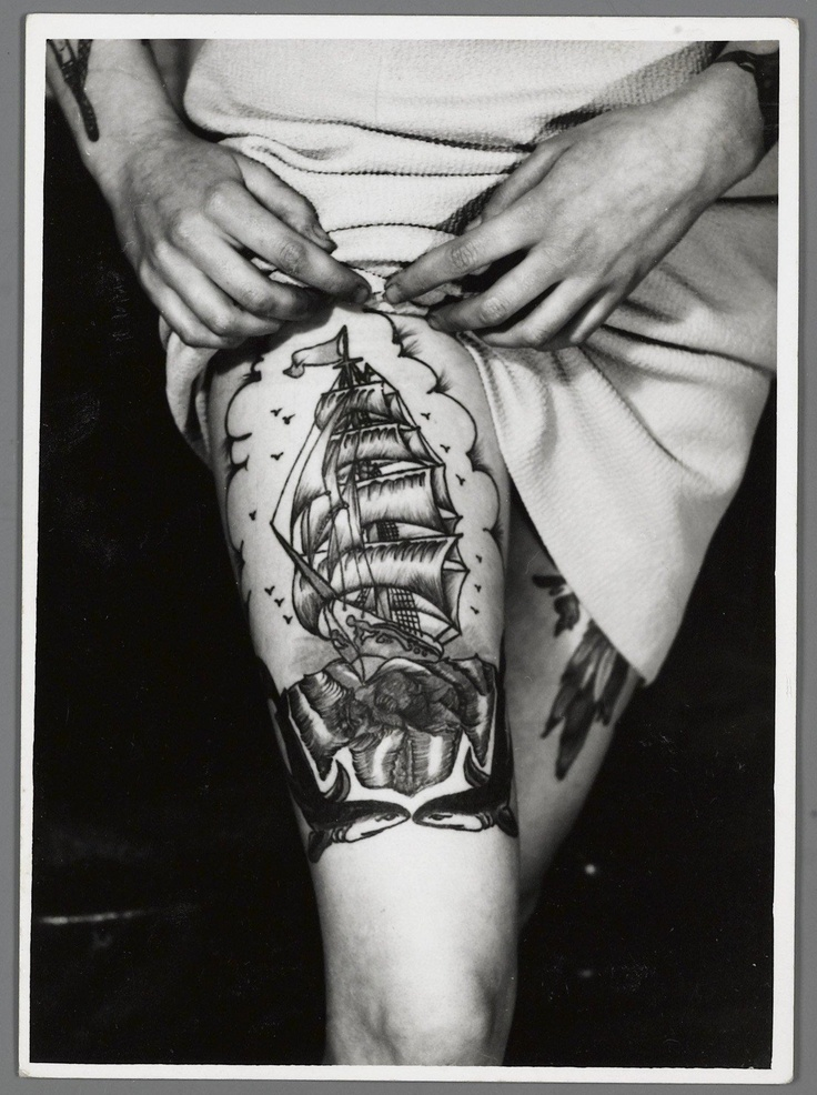 Black and white ship tattoo on leg -   TattooMagz › Tattoo Designs / Ink Works / Body Arts Gallery