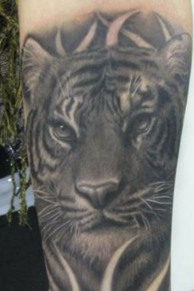 Black and white tiger tattoo on arm