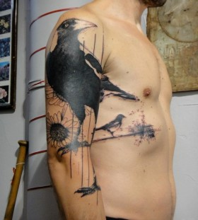 Black angry crow tattoo by Xoil
