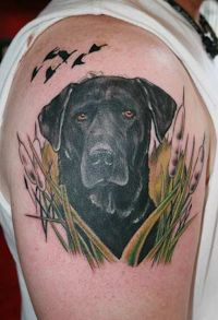 Black bird and dog tattoo on arm
