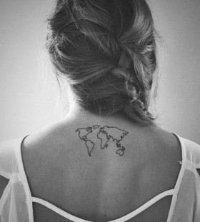 Black cute map tattoo on back