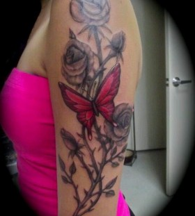 Black cute rose and red butterfly tattooo