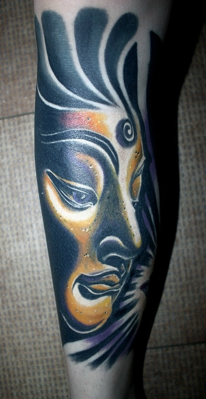 Black girl face tattoo on leg - | TattooMagz › Tattoo