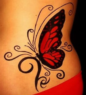 Black girl red butterfly tattooo