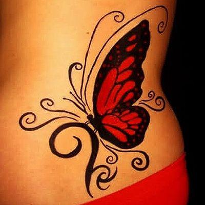 Black girl red butterfly tattooo