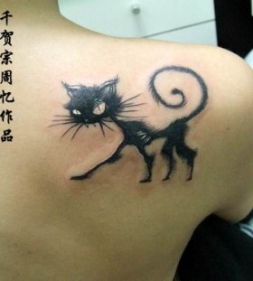 Black lovely cat tattoo on arm