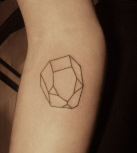 Black lovely crystal tattoo on leg