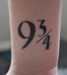 Black numbers ornaments tattoo