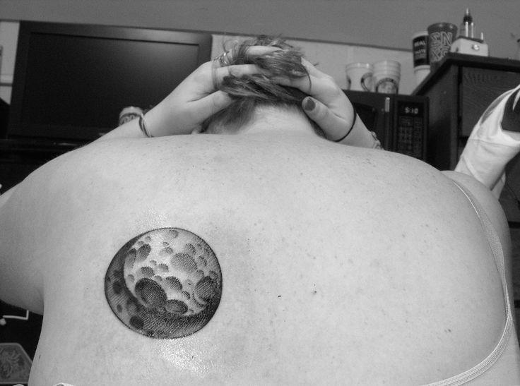 Black pretty women's back moon tattoo