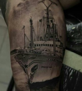Black ship tattoo by Dimitry Samohin