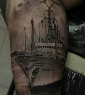 Black ship tattoo by Dimitry Samohin