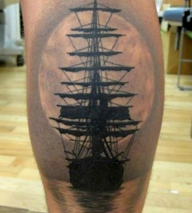 Black ship's ornaments tattoo