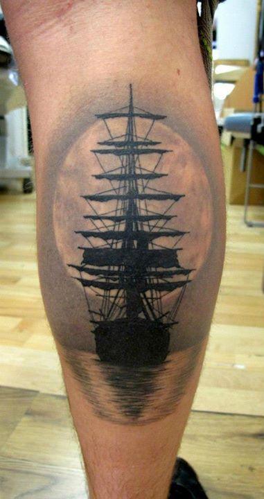 Black ship's ornaments tattoo