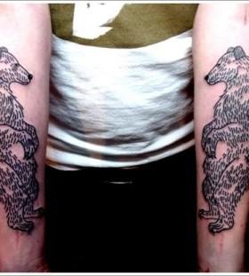 Black simple bear tattoo on arm