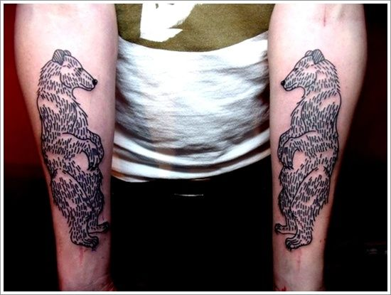 Black simple bear tattoo on arm