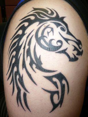 Black simple horse tattoo on arm