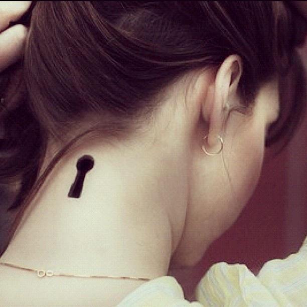 Black simple keyhole tattoo