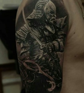 Black soldier tattoo by Dimitry Samohin