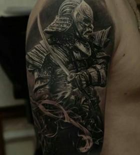 Black soldier tattoo by Dimitry Samohin