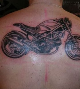 Black sports bicycle tattoo on back