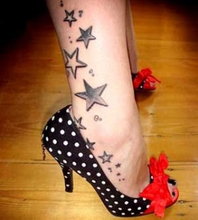 Black stars tattoo with shoes