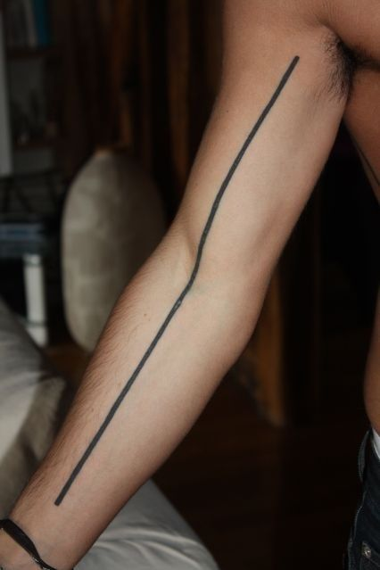 Black Strong Line Tattoo On Arm Tattoomagz Tattoo