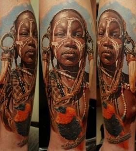 Black women tattoo by Dimitry Samohin