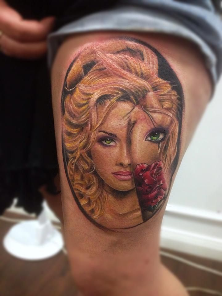 Blonde Girl U0026 39 S Face Tattoo On Arm   Ink Works    Body Arts Gallery