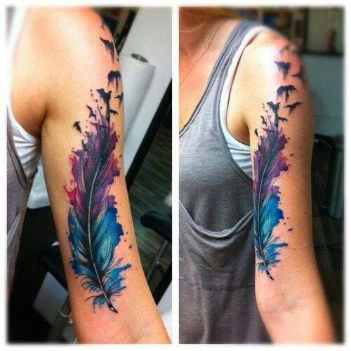 Blue and purple watercolor tattoo