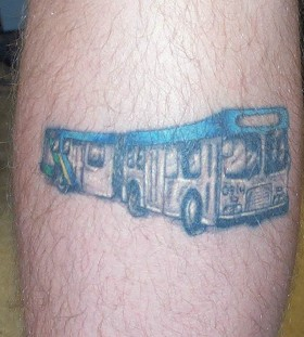 Blue bus car tattoo on leg