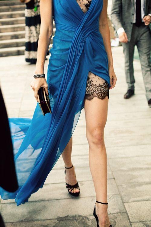 Blue dress and lace tattoo on leg