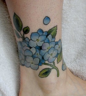 Blue flower lovely tattoo