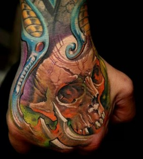 Blue lovely tattoo by Dimitry Samohin