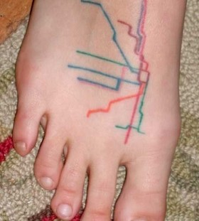 Blue, red, yellow and green map tattoo on legs