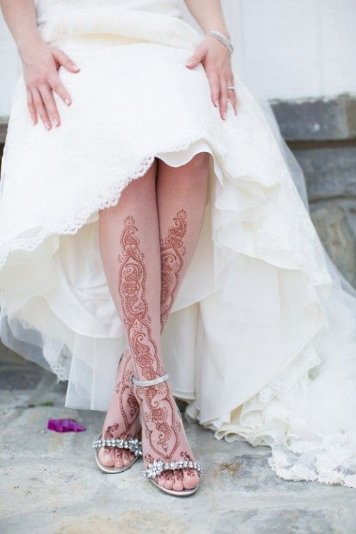 Bride black lace tattoo on leg
