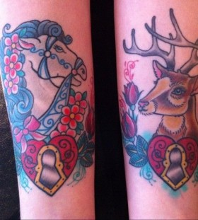 Brown deer and horse tattoo on arm