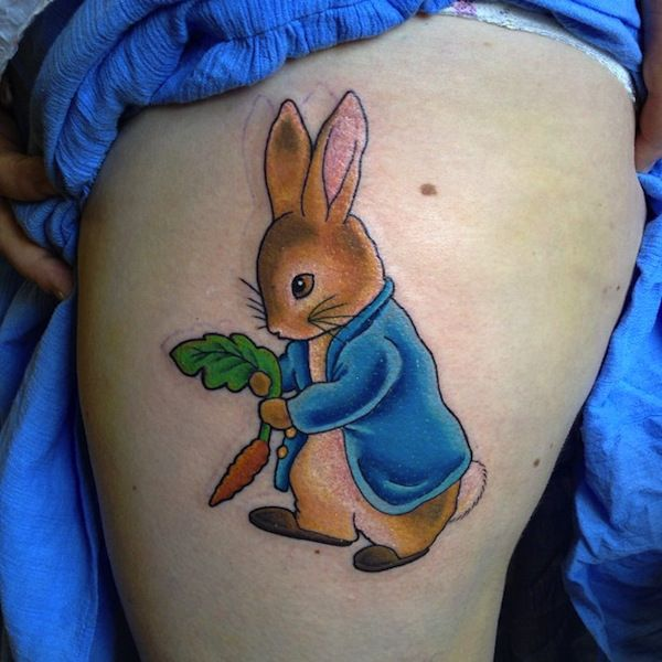 Carrot and lovely rabbit tattoo on arm