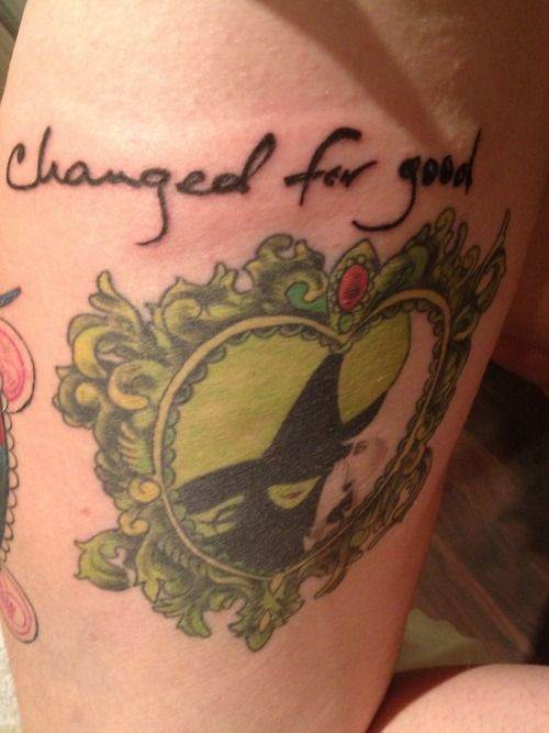 Changed for good quote tattoo on leg