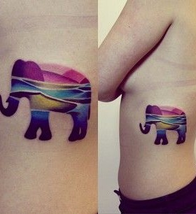 Colorful elephant lovely tattoo