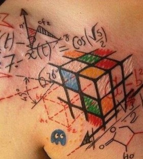 Colorful formula tattoo on breast