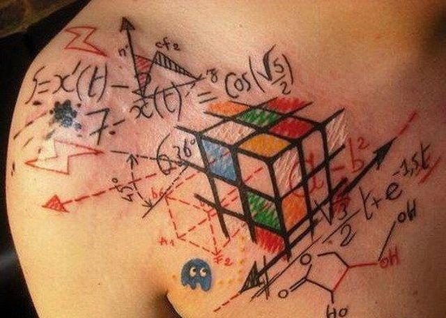 Colorful formula tattoo on breast